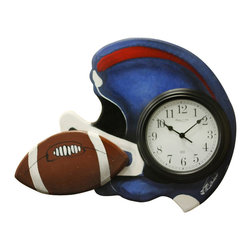 """Albert Tribuiani - Football Clock - Great for the """"quarter back"""" in your life, this clock unit is a perfect addition to any room! 3D pieces complete the look! Albert is a decor artist who has been creating designs for celebrities for over 50 years. Albert creates each piece by hand, which making every design one-of-a-kind. (Self only; additional items sold separately)"""