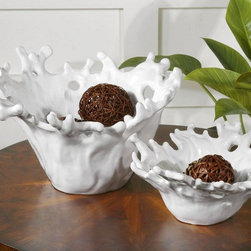 """Uttermost - White Coral Decorative Bowls - Set of 2 - These Decorative Bowls Feature A Smooth, Very Pristine, Gloss White Finish. Sizes: Sm-13x6x12, Lg-17x10x15. Uttermost's Decorative Bowls & Trays Combine Premium Quality Materials With Unique High-style Design. Overall Dimensions: 15""""D x 16.5""""W x 9.875""""H"""