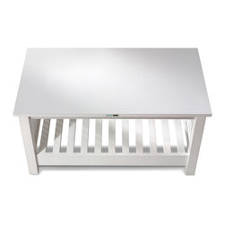 Coffey - top view - A traditional mission style furniture piece blended with contemporary and coastal design.