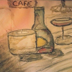 Cafe Watercolour (Original) by Cynthia Jackson - Cafe Bar Scene in Paris France. WaterColour & Charcoal Painting