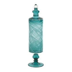 iMax - iMax Lagos Medium Glass Canister X-51237 - This beautiful Lagos medium glass bottle rests effortlessly on a black base. Its whimsical pattern will leave your guests in awe.