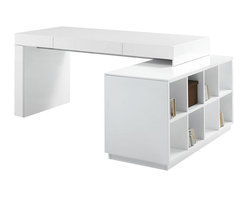JNM Furniture - S005 Modern Office Desk, White - A mix of great style & functionality. The S005 Office desk features a built in bookshelf ideal for storage & organization. Available In a white high gloss finish, or in a two tone grey high gloss with wenge,.
