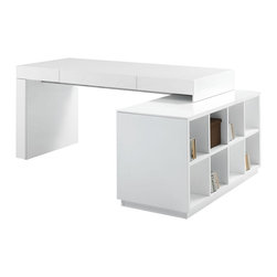 JNM Furniture - Modern Office Desk, White - A mix of great style & functionality. The S005 Office desk features a built in bookshelf ideal for storage & organization. Available In a white high gloss finish, or in a two tone grey high gloss with wenge,.