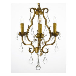 The Gallery - Mini Crystal Chandelier with 3 Lights - Transform a smaller setting with the glamor of crystal. Gilded wrought iron drips with dazzle to illuminate your decor beyond your wildest dreams.