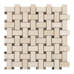 Stone and Co - Crema Marfil Polished Marble Basketweave with Dark Emperador Dots - Finish: Polished