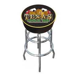 Trademark Global - Bar Stool w Padded Seat & Texas Holdem Logo - When you're serious about your card game, you need the perfect stools to match your skill.  The sleek modern design features a brilliant chrome-plated finish base with double-rung design for added stability. The thickly padded seat features the bold Texas Hold 'em cowboy hat logo, and the cushioned backrest makes this unique stool extra comfortable.  You can bet that this will be the favorite seat in the house on poker night. Adjustable levelers. Long lasting full color Texas Hold 'em logo. Great for gifts and recreation decor. 7.50 in. High padded seat. 30 in. High bar stool great for bar pub table and bars. Commercial grade vinyl seat. Chrome plated double rung base. 14.75 in. W x 14.75 in. D x 30 in. H (17 lbs.)Texas Hold 'em Bar Stool will be the highlight of your bar and game room.