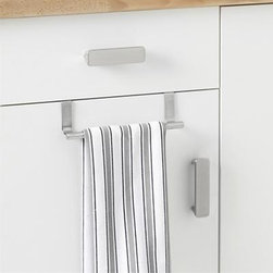 Over-the-Cabinet Bar - Keep dishtowels and cloths handy or hidden away with this innovative bar that hooks over any cabinet or drawer. Brushed stainless bar may be left in place or whisked away when you're done cooking or cleaning. Protective foam backing; no hardware required.