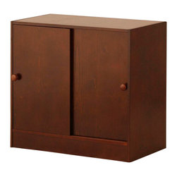 Canwood - Canwood Whistler 2 Door Cupboard in Espresso - Canwood - Kids Dressers - 21339 -The Canwood Whistler Collection 2 Door Cupboard, with its West Coast design techniques, quaint, clean lines and rich wood finish, is designed to complement the Junior Loft bed. Designed with the Canadian Whistler Resort in mind, in beautiful British Columbia, this 2 Door Cupboard boasts an 'outdoorsy' elegance that is sure to complete your tween's bedroom look. With two spacious shelves and easy sliding cupboard doors, there is plenty of room to hide your tween's bulkier items without sacrificing your decor. Lower than a traditional cupboard, it will fit perfectly underneath your Canwood Whistler Junior Loft bed.
