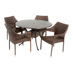 Great Deal Furniture - Sonora Outdoor 5pcs Dining Set - The Sonora circular outdoor cast and wicker set is a perfect addition to add some style to any outdoor living space. This unique set combines a cast aluminum table with versatile PE wicker chairs to create an interesting touch of expression to your backyard or patio.