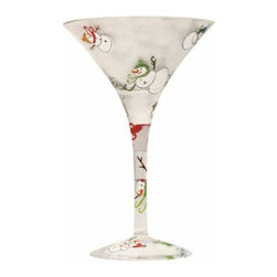 WL - Winter Holiday Martini Glass with Red and Green Smiling Snowman Design - This gorgeous Winter Holiday Martini Glass with Red and Green Smiling Snowman Design has the finest details and highest quality you will find anywhere! Winter Holiday Martini Glass with Red and Green Smiling Snowman Design is truly remarkable.
