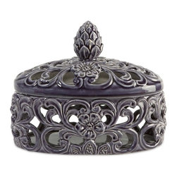IMAX CORPORATION - CKI Short Lidded Cutwork Box - Ceramic cutwork is finished in deep blue in this short lidded box designed by Carolyn Kinder. Find home furnishings, decor, and accessories from Posh Urban Furnishings. Beautiful, stylish furniture and decor that will brighten your home instantly. Shop modern, traditional, vintage, and world designs.