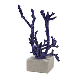 Lazy Susan - Lazy Susan 148028 Staghorn Coral Sculpture - Staghorn coral sculpture formed from cast iron, in a blue finish and mounted on a white marble bas.