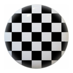 Carolina Hardware and Decor, LLC - Black Checkered Ceramic Cabinet Drawer Knob - New 1 1/2 inch ceramic cabinet, drawer, or furniture knob with mounting hardware included. Also works great in a bathroom or on bi-fold closet doors (may require longer screws).  Item can be wiped clean with a soft damp cloth.  Great addition and nice finishing touch to any room.