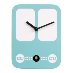 Progetti - CucuBus 2227 Light Blue Wall Clock - Simple shapes with iconic graphic, a bus in the '60s-style dress the cuckoo clock designed by Francesca Macchi. Nice object with sleek and compact size are placed in a harmonious way inside homes and offices giving a touch of originality and color. The structure is made of wood with the bird positioned in the lower center part. LBattery quartz movement. The Cuckoo strike is switched off automatically during the night controlled by a light sensor.
