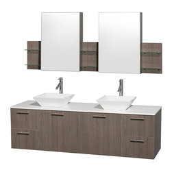 Wyndham Collection - Amare Grey Oak with White Man-Made Stone Top with White Porcelain Sinks - Modern clean lines and a truly elegant design aesthetic meet affordability in the Wyndham Collection. Dimensions: 72 in.
