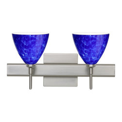 Besa Lighting - Besa Lighting 2SW-177986-SQ Mia 2 Light Reversible Halogen Bathroom Vanity Light - Mia has a classical bell shape that complements aesthetic, while also built for optimal illumination. Our Blue Cloud glass is full of floating, splashes of blue tones over white that almost feels like a watercolor painting. This combination of color is crisp and timeless. This decor is created by rolling molten glass in small bits of blue hues called frit. The result is a multi-layered blown glass, where frit color is nestled between an opal inner layer and a clear glossy outer layer. The handcrafted touch of a skilled artisan, utilizing century-old techniques passed down from generation to generation, creates variations in color and design that are to be appreciated. The vanity fixture is equipped with decorative lamp holders, removable finials, linear rectangular housing, and a removable low profile oval canopy cover.Features: