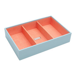 WOLF - Stackables Medium Deep Tray, Aqua - A vibrant, colorful combination of jewelry and accessory storage trays. Available in purple, aqua, yellow, and orange with contrasting fabric lined interiors they're perfect for organizing all of your jewelry and accessories! Each piece is sold separately and is designed to be mixed, matched and stacked to meet your individual storage needs.