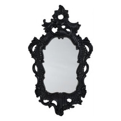 Black Lacquer Baroque Mirror - This mirror looks like it could have come straight out of the tale of Snow White. I'm very drawn to Baroque pieces, and I have a very similar (albeit smaller) version of this mirror. Its intriguing shape and style are instant attractions.