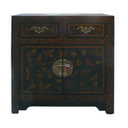 Golden Lotus - Chinese Black Leather Butterflies Side Table Nightstand - This is an end table / nightstand that is made of compressed wood and a layer of artificial leather on the surface. The surface is decorated with matt yellow gold butterlfies and flowers graphic.