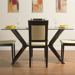 """Aeon Furniture - Greenwich Dining Table Set with Newport Dinin - Set includes table and 4 chairs. Greenwich Dining Table. High Quality 10 mm Glass Top. Solid Beech Wood Coffee Finished Base. Comfortably Seats 6 People. CARB Rated. Assembly Required. Base: 24 in. L x 45.5 in. W x 29 in. H. 59 in. L x 35.5 in. W x 29.5 in. H (106 lbs.). Newport Dining Chairs:. Stylishly Designed Solid Beech Wood Dining Chairs in a Rich Coffee Finish with a Beige Leatherette Padded Seat and Back. Assembly Required. Seat Height: 18 in.. 20 in. L x 18 in. W x 37.25 in. H (12.75 lbs.)With its great look and contemporary design, this extendable dining table meets your dining and entertainment needs while enhancing the look of your home.  The table is constructed of a solid beech wood frame, stained in a rich coffee finish.   The self-contained 17.5"""" extension leaf easily transforms this table from an intimate piece to the social center of your home. Stylishly designed with functionality and comfort in mind, this solid beech wood chair is simple yet elegant.  Its padded back and seat comfortably encourages guests to linger for quality time with family and friends."""