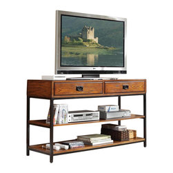HomeStyles - TV Stand in Distressed Oak Finish - Two storage drawers. Two fixed shelves. Brown metal accents. Can be used as console table. Made from poplar solids and oak veneers. 54 in. W x 18 in. D x 31.5 in. H. Assembly InstructionsReminiscent of the American Craftsman Era with understated style and simplicity, the Modern Craftsman Entertainment Collection marries a traditional.