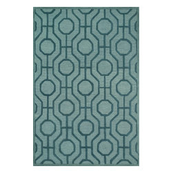 "Loloi Rugs - Loloi Rugs Celine Collection - Aqua / Teal, 2'-3"" x 7'-6"" - Combining sophisticated tonal colors with geometric patterns, the Celine Collection is a great option for modern interiors. The collection is hand hooked in India of 100% wool, with high pile defining the pattern and adding texture. Available in a variety of sizes to suit any room.�"
