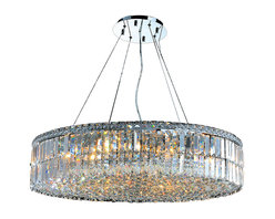 """Worldwide Lighting - Cascade 18 Light Chrome Finish and Clear Crystal 32"""" D Round Chandelier Large - This stunning 18-light Crystal Chandelier only uses the best quality material and workmanship ensuring a beautiful heirloom quality piece. Featuring a radiant chrome finish and finely cut premium grade clear crystals with a lead content of 30%, this elegant chandelier will give any room sparkle and glamour. Dual-mount option for flush or suspension. Worldwide Lighting Corporation is a privately owned manufacturer of high quality crystal chandeliers, pendants, surface mounts, sconces and custom decorative lighting products for the residential, hospitality and commercial building markets. Our high quality crystals meet all standards of perfection, possessing lead oxide of 30% that is above industry standards and can be seen in prestigious homes, hotels, restaurants, casinos, and churches across the country. Our mission is to enhance your lighting needs with exceptional quality fixtures at a reasonable price."""