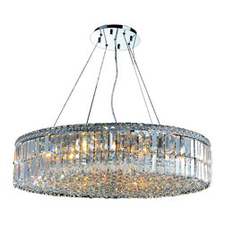 "Worldwide Lighting - Cascade 18 Light Chrome Finish and Clear Crystal 32"" D Round Chandelier Large - This stunning 18-light Crystal Chandelier only uses the best quality material and workmanship ensuring a beautiful heirloom quality piece. Featuring a radiant chrome finish and finely cut premium grade clear crystals with a lead content of 30%, this elegant chandelier will give any room sparkle and glamour. Dual-mount option for flush or suspension. Worldwide Lighting Corporation is a privately owned manufacturer of high quality crystal chandeliers, pendants, surface mounts, sconces and custom decorative lighting products for the residential, hospitality and commercial building markets. Our high quality crystals meet all standards of perfection, possessing lead oxide of 30% that is above industry standards and can be seen in prestigious homes, hotels, restaurants, casinos, and churches across the country. Our mission is to enhance your lighting needs with exceptional quality fixtures at a reasonable price."