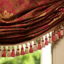 Monte Sereno Living Room - Roman shades with tassel trim on the bottom.