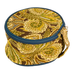 Enchante Accessories Inc - Raymond Waites Printed Fabric Zippered Jewelry Case / Box with Handle, Bariloche - Keep all of your precious jewelry stored in this stylish jewelry case. Accommodate all your jewelry when you travel. This jewelry case is the perfect traveling size for necklaces, earrings, rings, watches, and chain bracelets. The case is not bulky or difficult to pack but can carry a lot of jewelry safely. Tuck this in you carry on bag.