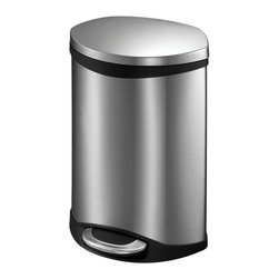 "Household Essentials - 6L Shell Oblong Step Bin - Small bins never looked so good as this 6L Shell Waste Bin an appealing alternative to traditional round or square waste bins. The bin's features a gently curved shell shape that bows around to a flat back like the shell for which it is named.  The elegant design allows the bin to fit snuggly against cabinetry pantries or walls—a valuable quality when space is at a premium. The 6L Shell Bin features the same hands-free operation as its larger sibling using a step pedal to raise the lid and an automatic soft-close that gently lowers it again.  No more unsightly open garbage cans and no more contorting to lift a lid.  This smaller hands-free unit means easy access to a bin that keeps trash and waste out of sight.  A removable liner makes taking out the trash and changing the bag nearly effortless.  Details:6L Shell Step BinHands-free operation Step pedal open and automatic soft closeBuilt-in bag secure and Removable bin linerCurved front meets flat back that allows bin to rest flush against a flat surface Dimensions:14.37"" x 9.06"" x 9.25""36.5cm x 23.01cm x 23.5cm Color: Stainless steel"