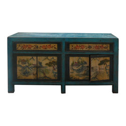 Golden Lotus - Chinese Blue Lacquer Ink Scenery Console Sideboard Table - This is an old cabinet restored with modern blue lacquer surface. The front graphic is oriental ink brush water mountain scenery.