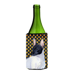 Caroline's Treasures - Rat Terrier Candy Corn Halloween Portrait Wine Bottle Koozie Hugger - Rat Terrier Candy Corn Halloween Portrait Wine Bottle Koozie Hugger Fits 750 ml. wine or other beverage bottles. Fits 24 oz. cans or pint bottles. Great collapsible koozie for large cans of beer, Energy Drinks or large Iced Tea beverages. Great to keep track of your beverage and add a bit of flair to a gathering. Wash the hugger in your washing machine. Design will not come off.