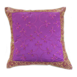 """Decorative Pillow Covers - """"Hand Embroidered"""" Pillow Cover in Amethyst color (Set of 2). Embroidery Indian design."""