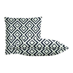 """Cushion Source - Black Geometric Throw Pillow Set - The Black Geometric Throw Pillow Set consists of 18"""" x 18"""" jacquard throw pillows featuring a geometric diamond pattern in black on a contrasting white background."""