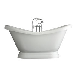 "Baths of Distinction - Hotel Collection 67"" Double Slipper Pedestal Bathtub/Faucet Package - Package consists of an elegant 67 double slipper pedestal bathtub along with hardware including faucet with handheld shower, drain with lift off stopper and straight supply lines all in chrome.  Bathtub is made of CoreAcryl acrylic with a resin/powdered stone filler.  Bathtub has a built in aluminum hear barrier within the tub body."