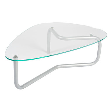 Knoll - Lovegrove Tri-Oval Table - With its curved, clear glass top and flowing, single-piece metal frame, this coffee table has a wonderfully fluid and organic feel. The triangular oval shape works gracefully with a variety of your couch and chair arrangements.