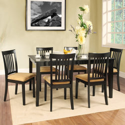 Tribecca Home - TRIBECCA HOME Wilma Black Mission Back Cushioned 7-piece Dining Set - Dine in comfort and style with this unique seven-piece Wilma dining set. This table features a lovely aukuman finish and the chairs have a black finish with stylish peat colored microfiber upholstery.