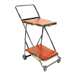 Refined Industrial Style Bar Cart - This two tiered industrial steel cart features rich Jatoba wood surfaces. The two casters in front swivel and the larger fixed wheels in the rear are hard rubber. Use it as a display piece, small shelving unit, or fill it with cocktail or goodies and roll it around the room!