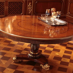 Italian furniture - Round Italian dining table GV1202 - Classic round Italian dining table shown in walnut finish with gold trim. This Italian pedestal table is accentuated with a gold leaf embellishment; intricately inlaid design will make a striking statement in your dining room.