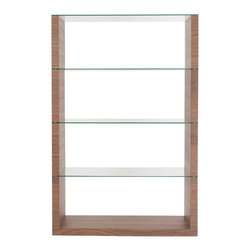 Eurostyle - Eurostyle Lennox 72 Inch Shelving Unit in Walnut - Hats off to this designer.  It's not easy to bring truly fresh ideas to shelving. The side panels are your choice of walnut, wenge or white. The shelving, including the top, is clear tempered glass.  It's strong and light at the same time and a serious wow. What's included: Shelves (1), Shelf Panel (1).