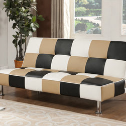None - K&B Multi-color Klik-Klak Sofa Bed - Transform and enjoy the comfort of your living area with this attractive contemporary multi-color fabric sofa bed. Durability and a long life are some of the benefits of the hardwood frame.
