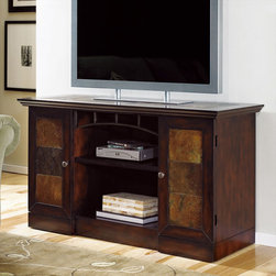 """Hammary - Vecchio Entertainment Console in Mid-Tone Brown Finish - """"Even as Hammary's stirring new """"""""Vecchio"""""""" collection fills your home with modern-day beauty, its unique design will transport you back to serene, simpler times. A childhood home, a grandmother's kitchen - the dearest places frozen in our memories come to life in this design."""