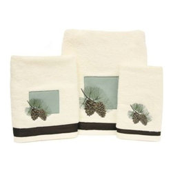 Bacova Guild, Ltd. - Westlake Bath Towel - This soft terry towel features a square fabric applique as well as a fabric trim border of embroidered pine cone and branches. 100% cotton exclusive of decoration.