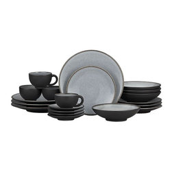 "Nuit 20-Piece Dinnerware Set - Day or night, our Nuit glazed stoneware combines hues of twilight and midnight for a striking two-tone tabletop effect. Minimal modern styling allows the color drama to take center stage. The shapes are both casual and elegant; a unique glazing process ensures that no two pieces are exactly alike. The satin exterior finish has a ""cast iron"" appeal. Quality and integrity of design from one of France's original ceramic factories, Jars Ceramics."