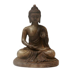 Golden Lotus - Chinese Oriental Jade Stone Carved Sitting Buddha Figure - This is a nicely carved ChineseBuddha figure with decorative motif and off white gray brown jade stone color as an accent.