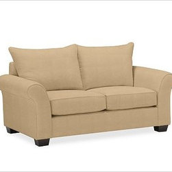 "PB Comfort Roll Upholstered Loveseat Knife-Edge, Down-Blend Cushions, Textured B - Built by our exclusive master upholsterers in the heart of North Carolina, our PB Comfort Upholstered Love Seat is designed for unparalleled comfort with deep seats and three layers of padding. 68.5"" w x 40"" d x 37"" h {{link path='pages/popups/PB-FG-Comfort-Roll-Arm-4.html' class='popup' width='720' height='800'}}View the dimension diagram for more information{{/link}}. {{link path='pages/popups/PB-FG-Comfort-Roll-Arm-6.html' class='popup' width='720' height='800'}}The fit & measuring guide should be read prior to placing your order{{/link}}. Choose polyester wrapped cushions for a tailored and neat look, or down-blend for a casual and relaxed look. Choice of knife-edged or box-style back cushions. Proudly made in America, {{link path='/stylehouse/videos/videos/pbq_v36_rel.html?cm_sp=Video_PIP-_-PBQUALITY-_-SUTTER_STREET' class='popup' width='950' height='300'}}view video{{/link}}. For shipping and return information, click on the shipping tab. When making your selection, see the Quick Ship and Special Order fabrics below. {{link path='pages/popups/PB-FG-Comfort-Roll-Arm-7.html' class='popup' width='720' height='800'}} Additional fabrics not shown below can be seen here{{/link}}. Please call 1.888.779.5176 to place your order for these additional fabrics."
