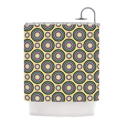 """Kess InHouse - Mydeas """"Patio Decor"""" Yellow Teal Shower Curtain - Finally waterproof artwork for the bathroom, otherwise known as our limited edition Kess InHouse shower curtain. This shower curtain is so artistic and inventive, you'd better get used to dropping the soap. We're so lucky to have so many wonderful artists that you'll probably want to order more than one and switch them every season. You're sure to impress your guests with your bathroom gallery in addition to your loveable shower singing."""