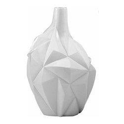 Gloss White Modern Glacier Vase - Small - *Small Glacier Vase