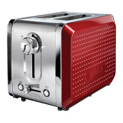 Bella - Bella Dots Red 2-slice Toaster - With its unique dot texture,gorgeous color and sleek design the BELLA Dots toaster will bring life to your kitchen and make you smile. This contemporary toaster has many features that will take cooking your bread into the future.